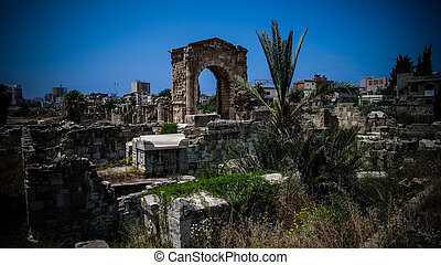 Remains of necropolis in ancient columns excavation site in Tyre at Lebanon