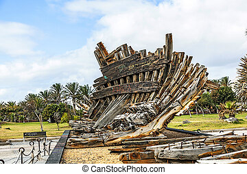 remains of old shipwreck in a park in Arrecife - remains of ...