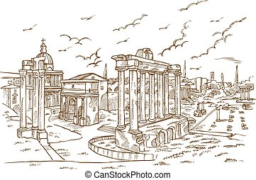 Remains of temples in Foro Romano, Rome, Italy hand draw