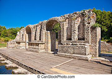 Remains of the ancient Baptistery at Butrint, Albania. -...