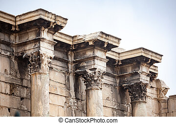 Remains of the Library of Hadrian, Athens, Greece. It is one...