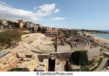 Remains of the Roman Amphitheater in Tarragona, Spain