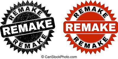 Black rosette REMAKE watermark. Flat vector distress stamp with REMAKE phrase inside sharp rosette, and original clean version. Watermark with grunged texture.
