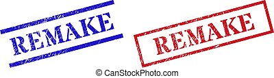 Grunge REMAKE rubber stamps in red and blue colors. Stamps have distress style. Vector rubber imitations with REMAKE caption inside rectangle frame, or parallel lines.