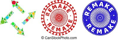 Centrifugal arrows composition of Christmas symbols, such as stars, fir trees, colored circles, and REMAKE scratched stamp prints. Vector REMAKE stamp seals uses guilloche ornament,