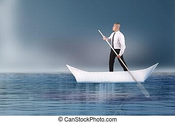 remar, barco de papel, hombre de negocios