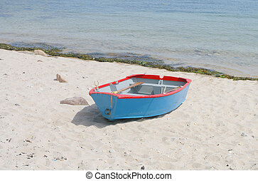 remar el barco, en, un, playa