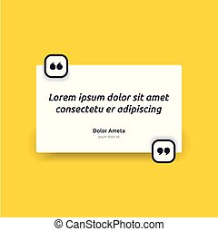 Remark quote text box poster template concept. blank empty frame citation. Quotation paragraph symbol icon. double bracket comma mark. bubble dialogue banner. typography design vector illustration