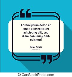 Remark quote text box poster template concept. blank empty frame citation. Quotation paragraph symbol icon. double bracket comma mark. bubble dialogue banner. typography design vector illustration.