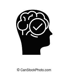 Remarked task black icon, concept illustration, vector flat symbol, glyph sign.