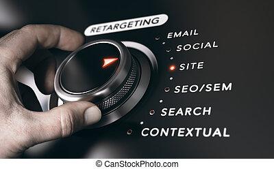 remarketing, concepto, o, retargeting