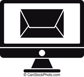 Remarketing email letter icon, simple style
