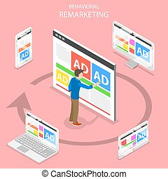 Remarketing flat isometric vector concept. A man pushing an ...