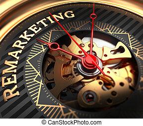 remarketing, reloj, black-golden, face.