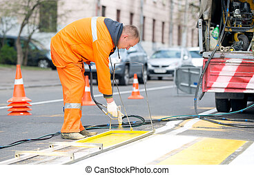 Remarking pedestrian crossing lines - Technical road man...