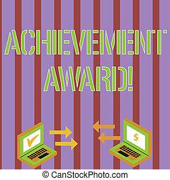 remarquable, award., ordinateur portable, signe, monnaie, compétence, chèque, icônes, deux, écriture, note, photo, business, projection, entre, icons., métier, digne, accomplissement, flèche, showcasing, recognizes