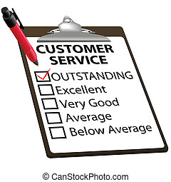 remarquable, service clientèle, évaluation, rapport, formulaire