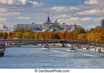 remblai, paris., ville, long, seine.