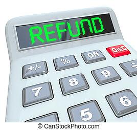 remboursement, audit, mot, argent, calculatrice, dos, impôts...