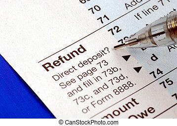 remboursement, bleu, retour, obtenir, impôt, isolé, revenu