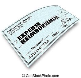 remboursement, chèque, mots, rapport, dépense, paiement
