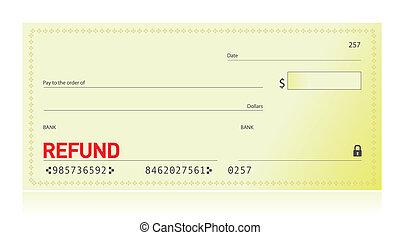 remboursement, conception, chèque, illustration