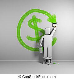 remboursement, dessine, symbole., illustration, personne, 3d