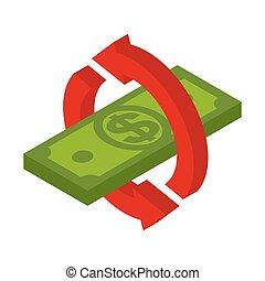 remboursement, dollars., retour, business, symbole, argent., espèces, illustration, dos, vecteur, icon., signe