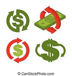 remboursement, dollars., retour, business, symbole, argent., espèces, illustration, dos, vecteur, signe, set., icône