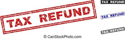 remboursement, gratté, grunge, impôt, timbres, rectangle