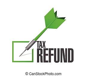 remboursement, impôt, liste, chèque, dard