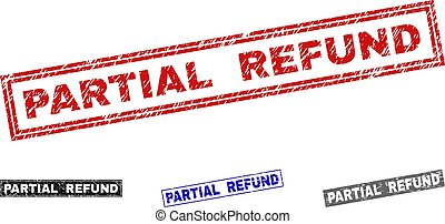 remboursement, partiel, timbre, cachets, textured, grunge, rectangle