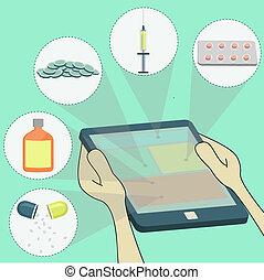 remedies, het selecteren, surfing, tafel