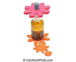 remedios, decoración, flor, bach, fieltro