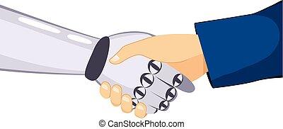 remegő, robot, emberi kezezés