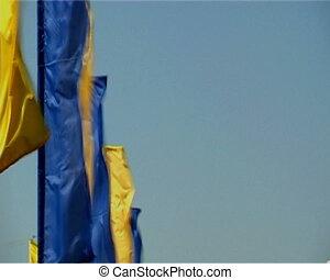 remegő, zászlók