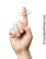 Remember! - A Piece of string tied around man's index finger...