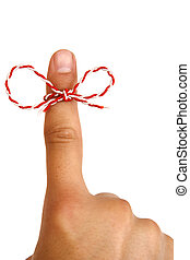 A string on man finger.... remember something... don't forget, isolated on white background