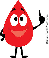 Cartoon clip art of a blood drop reminding to donate blood.