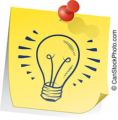 Doodle style light bulb or idea symbol on yellow sticky note sketch in vector format