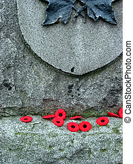 Poppies on the war memorial on Rememberance day