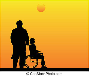 Loving couple watching the sunset and remembering days gone by... As he does Palliative Care at home, for his loving wife, with Respect and honor..