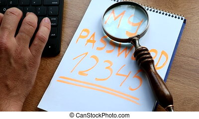 Remembering passcodes - my password written on note sheet by...