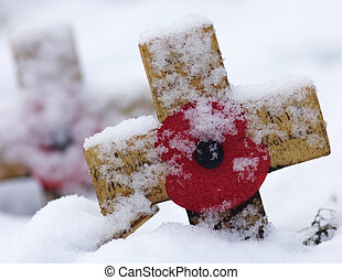 Cross With Red Poppy In The Snow - Remembrance Cross With...