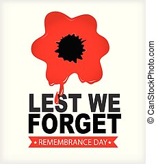 Remembrance Day Lest we forget Red poppy in blood