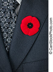 Remembrance Day poppy on suit - Red poppy lapel pin on suit...