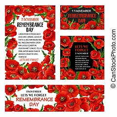 Remembrance Day red poppy flower poster design