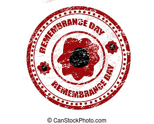 Remembrance day stamp - Red grunge rubber stamp with red...