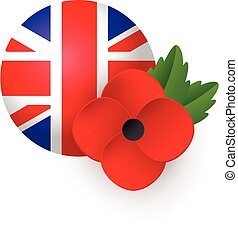 Remembrance Day vector poster, banner. Bright Poppy flower and Flag of the United Kingdom of Great Britain.