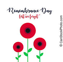 Remembrance Day vector poster. Lest We forget. Bright Red Poppy flower